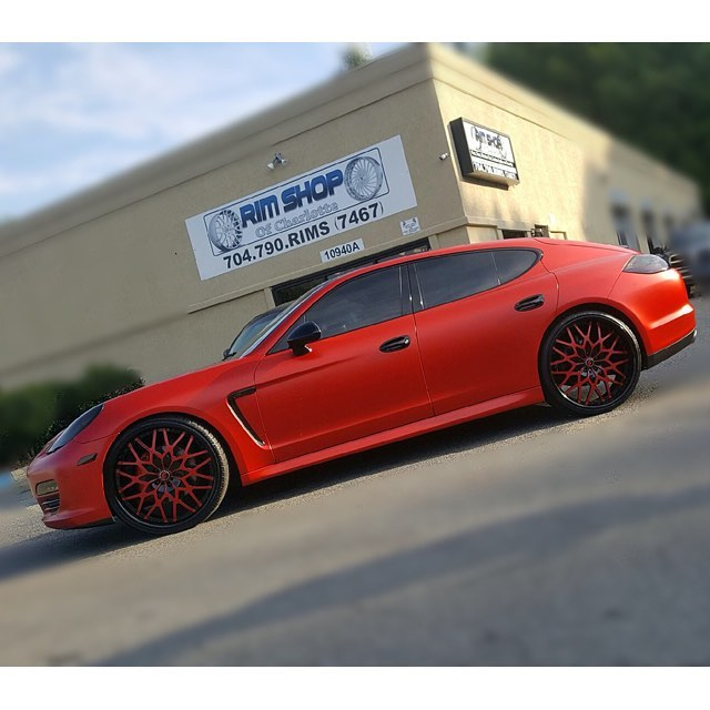 porsche panamera wrapped in 3m 1080 matte red vinyl