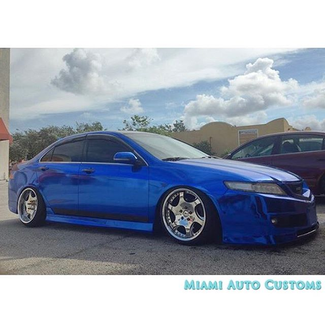 Acura TSX Wrapped In Avery SW Blue Chrome Vinyl