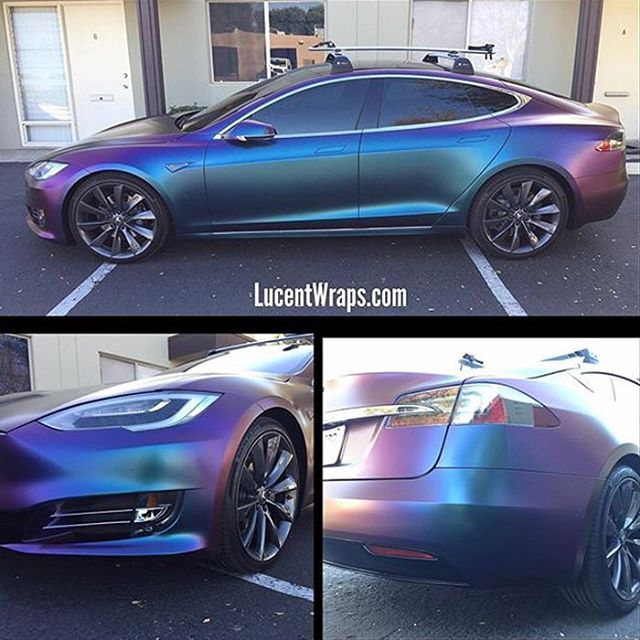 Tesla Model S In Avery Colorflow Satin Rushing Riptide